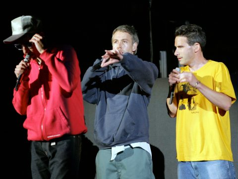 "Photo by Kelly A. Swift -   June12, 2004 The Beastie Boys perform during KROQ's 'Weenie Roast"" Irvine, CA."